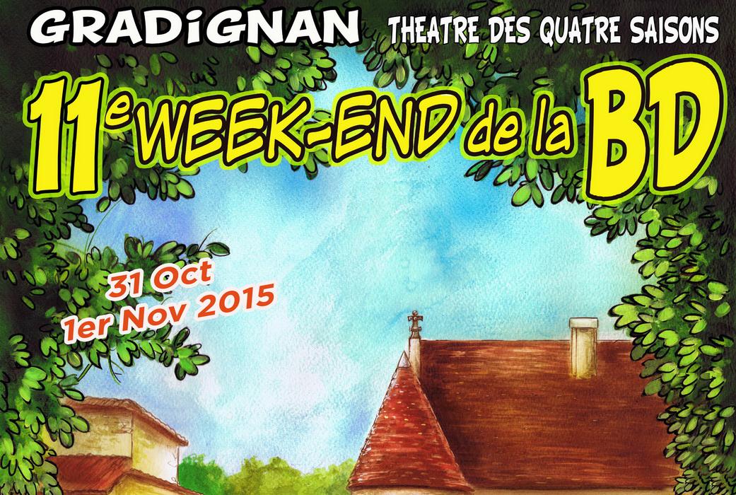 Cartouche tiré de l'affiche du festival de la BD de Gradignan (Dessin : Denis Lapierre) - Flibusk